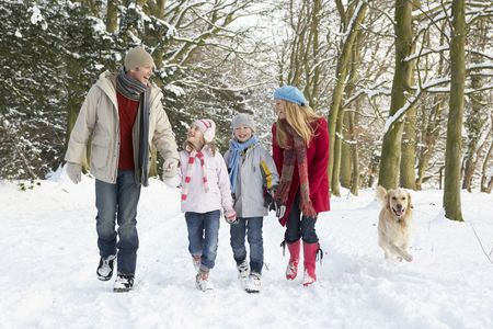 Family Walking Dog Through Snowy Woodland photo