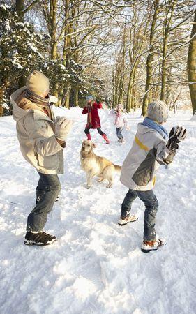 bolas de nieve: Familia a tener lucha de bola de nieve en Woodland Snowy  Foto de archivo