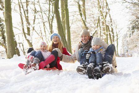 bosque con nieve: Familia trineos a trav�s de Woodland Snowy