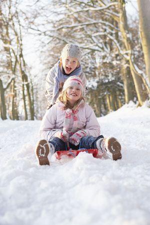 sledging: Ragazzo e ragazza slitta attraverso il bosco innevato Archivio Fotografico