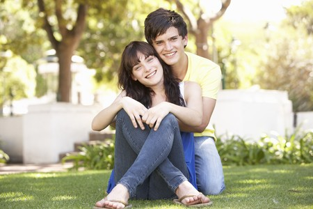 Portrait Of  Romantic Teenage Couple Sitting In Park Stock Photo - 8108650
