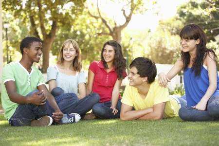 Group Of Teenagers Chatting Together In Park photo