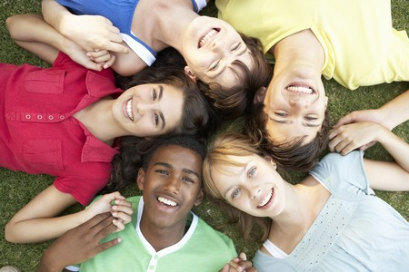 Group Of Teenagers Looking Up Into Camera Stock Photo - 8108725