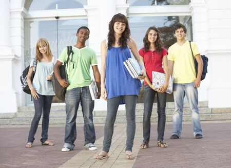 Group Of Teenage Students Standing Outside College Building Stock Photo - 8108628