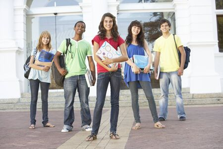 Group Of Teenage Students Standing Outside College Building Stock Photo - 8108600