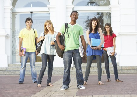 Group Of Teenage Students Standing Outside College Building Stock Photo - 8108606