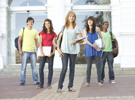 Group Of Teenage Students Standing Outside College Building Stock Photo - 8108590