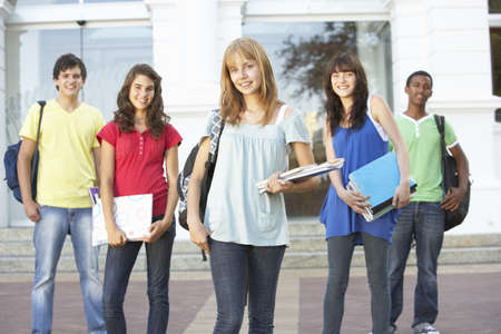 Group Of Teenage Students Standing Outside College Building Stock Photo - 8108572