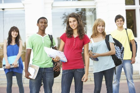 Group Of Teenage Students Standing Outside College Building Stock Photo - 8108592