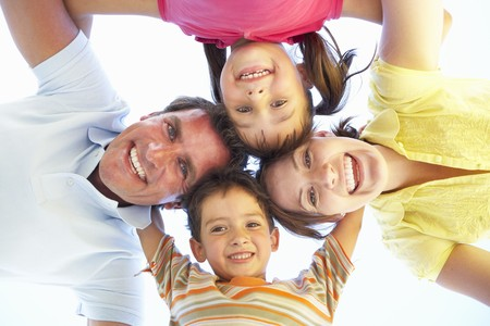 Family Group Looking Down Into Camera Stock Photo - 8108662