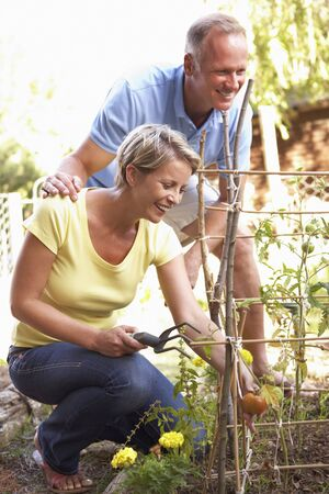 allotment: Couple Relaxing In Garden Stock Photo