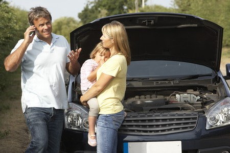 Family Broken Down On Country Road Stock Photo - 8108890