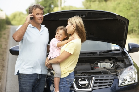 Family Broken Down On Country Road Stock Photo - 8108882