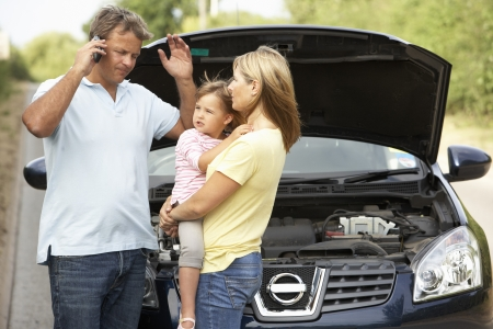 car driver: Family Broken Down On Country Road Stock Photo