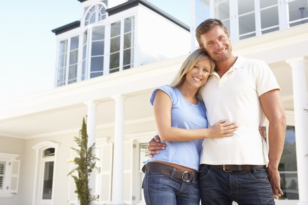 Dream Home: Young Couple Standing Outside Traumhaus