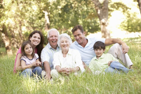 grandparents: Portrait Of Extended Family Group In Park