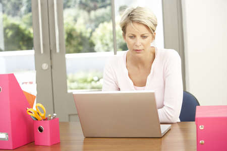 Woman Using Laptop At Home Stock Photo - 8482836
