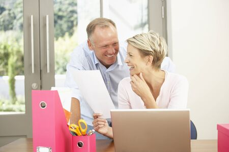 Couple Using Laptop At Home Stock Photo - 8482823