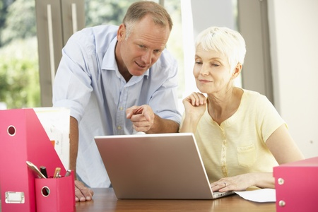 Adult Son And Senior Mother Using Laptop At Home Stock Photo - 8482841