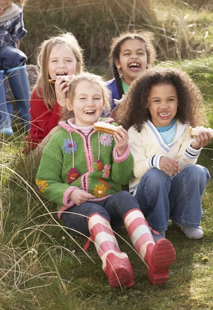 9 year old: Group Of Girls Eating Cream Cakes In Field Together Stock Photo
