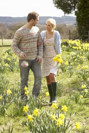 Romantic Couple Walking Amongst Spring Daffodils
