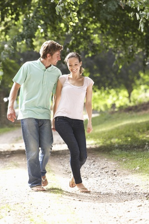 affectionate: Affectionate Couple Walking In Countryside Together