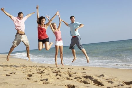 shorelines: Group Of Friends Enjoying Beach Holiday