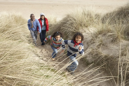 family vacation: Family Walking Along Dunes On Winter Beach