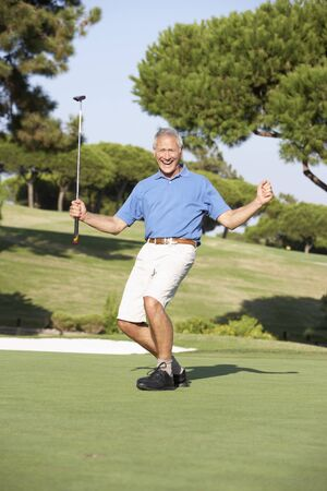 Senior Male Golfer On Golf Course Putting On Green Stock Photo - 8503502