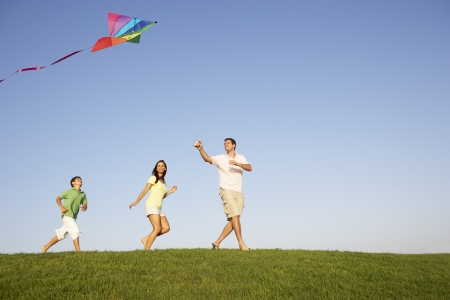 flying a kite: Young family, parents with child, playing in a field