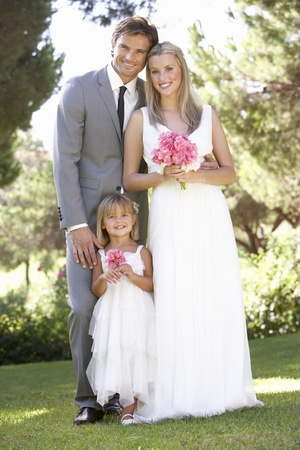 Bride And Groom With Bridesmaid At Wedding Stock Photo - 8505159