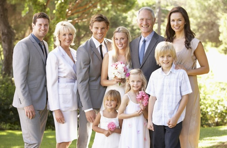 3 4 length: Family Group At Wedding Stock Photo