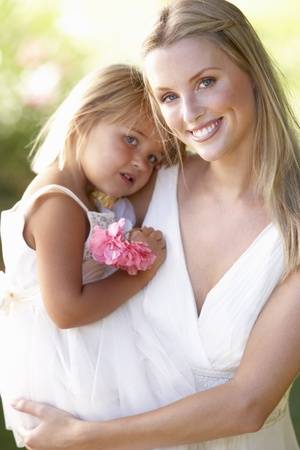 bridesmaid: Bride With Bridesmaids Outdoors At Wedding