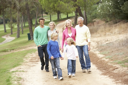 three generations: Three Generation Family enjoying walk in park
