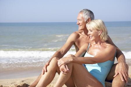 Senior couple on beach holiday Stock Photo - 9197327