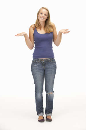 Young woman poses with shrugged shoulders Stock Photo - 9195035