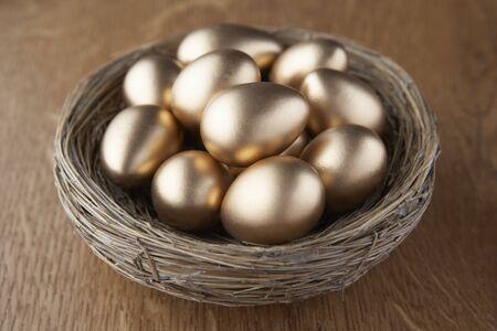 A basket of golden eggs photo