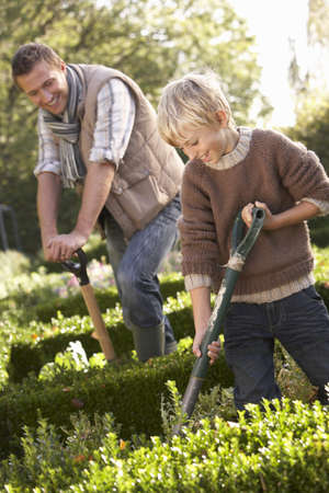 vegetable gardening: Young man with child working in garden Stock Photo