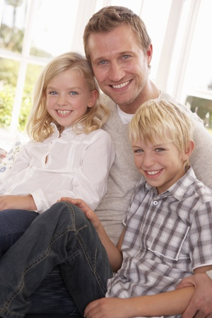 Man and children pose together Stock Photo - 9197303