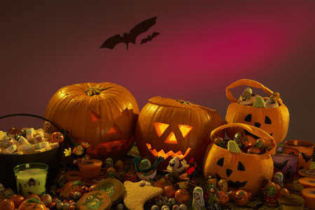 Halloween party decorations with carved pumpkins photo