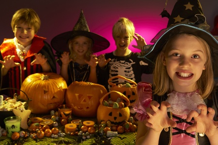 Halloween party with children wearing scaring costumes Stock Photo - 9875969