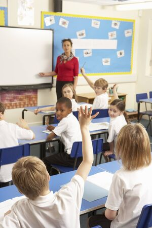 Schoolchildren Studying In Classroom With Teacher photo