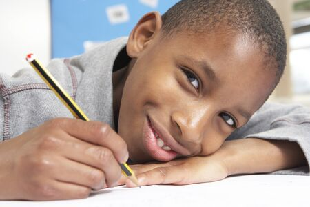 nine years old: Schoolboy Studying In Classroom