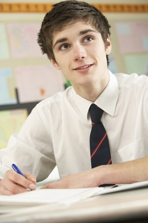 Male Teenage Student Studying In Classroom photo
