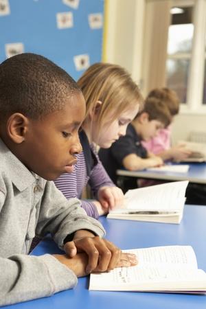 schoolboy: Schoolboy Reading Book In Classroom