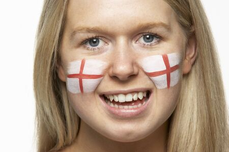 georges: Young Female Sports Fan With St Georges Flag Painted On Face