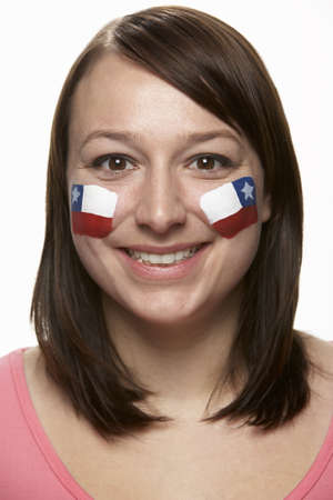 chilean flag: Young Female Sports Fan With Chilean Flag Painted On Face Stock Photo