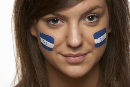 honduras: Young Female Sports Fan With Honduran Flag Painted On Face
