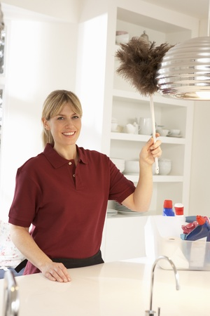duster: Cleaner Working In Domestic Kitchen With Feather Duster