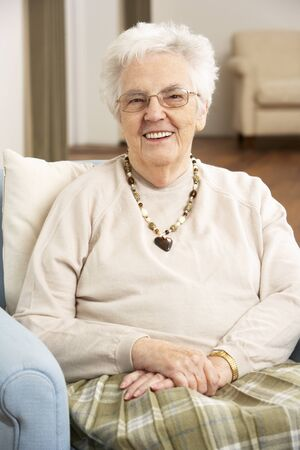 residental care: Senior Woman In Chair At Home